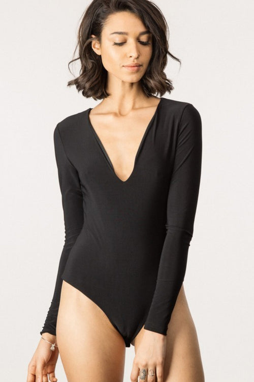LONG SLEEVE KATE BODYSUIT IN BLACK