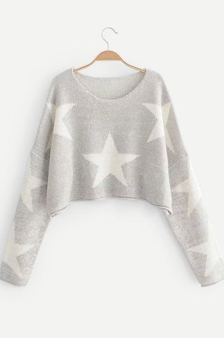 DISTRESSED OVERSIZE STAR SWEATER IN BLACK
