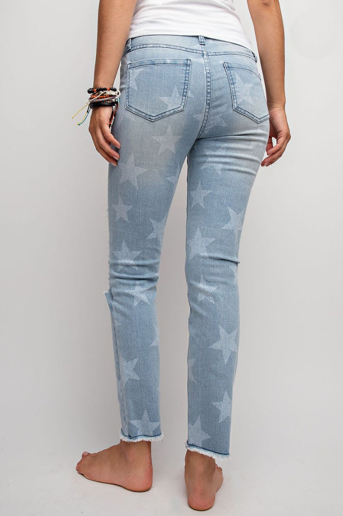 STAR WASHED DISTRESSED JEANS / FINAL CLEARANCE