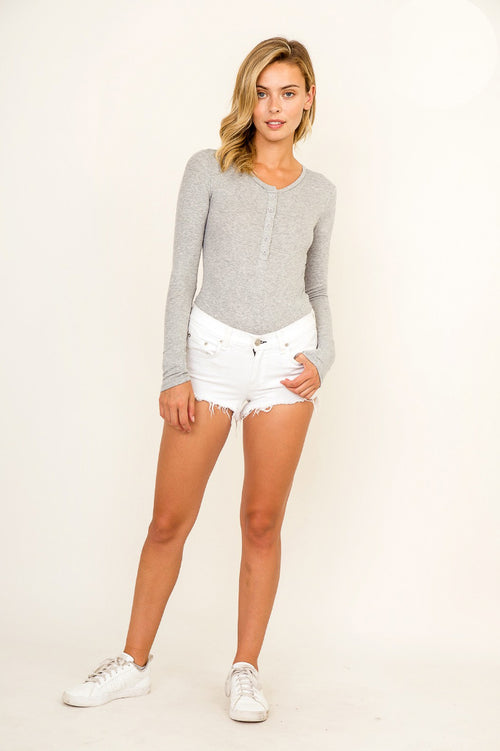 LONG SLEEVE AS A BUTTON BODYSUIT IN GREY