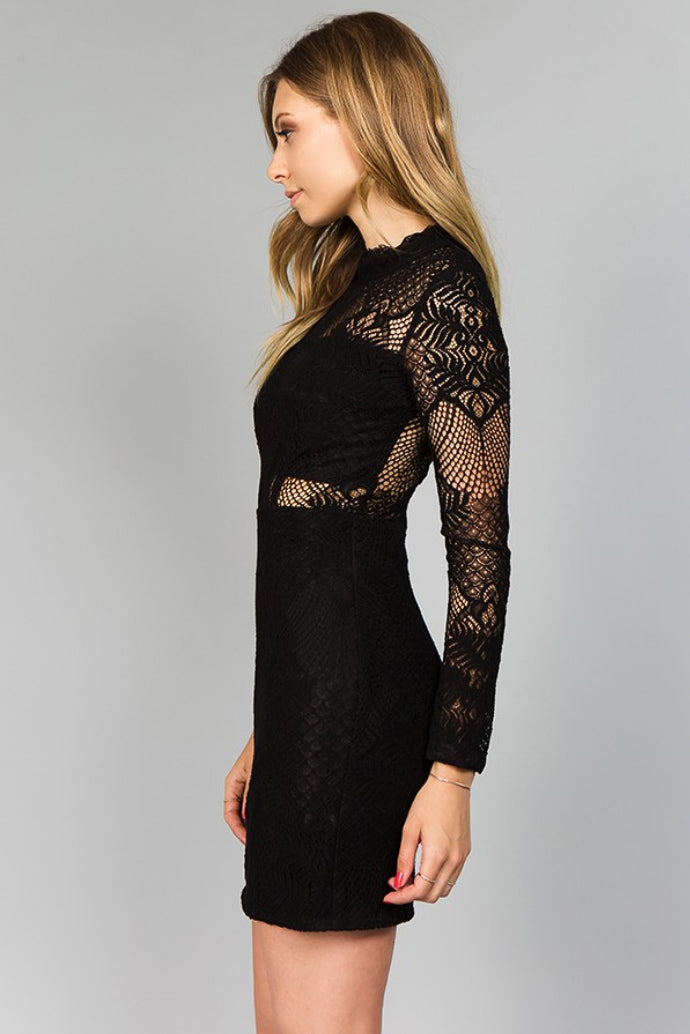 MINUET LONG SLEEVE CROCHET LBD