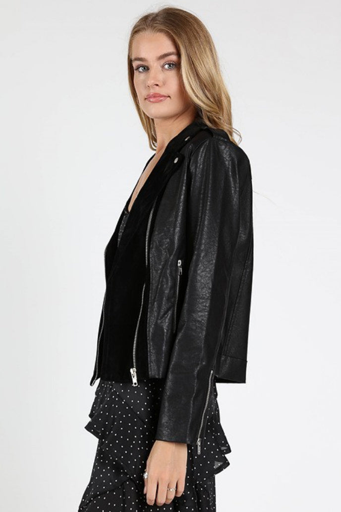 BLACK PANEL MOTO JACKET