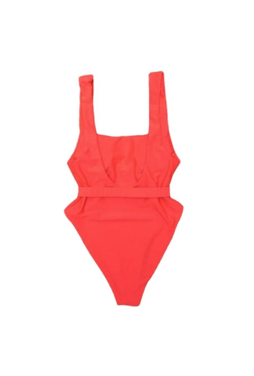 BELTED HIGH RISE SWIMSUIT IN ORANGE