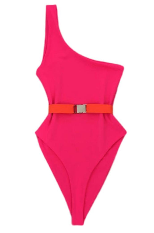 BELTED HIGH RISE SWIMSUIT IN DARKER PINK