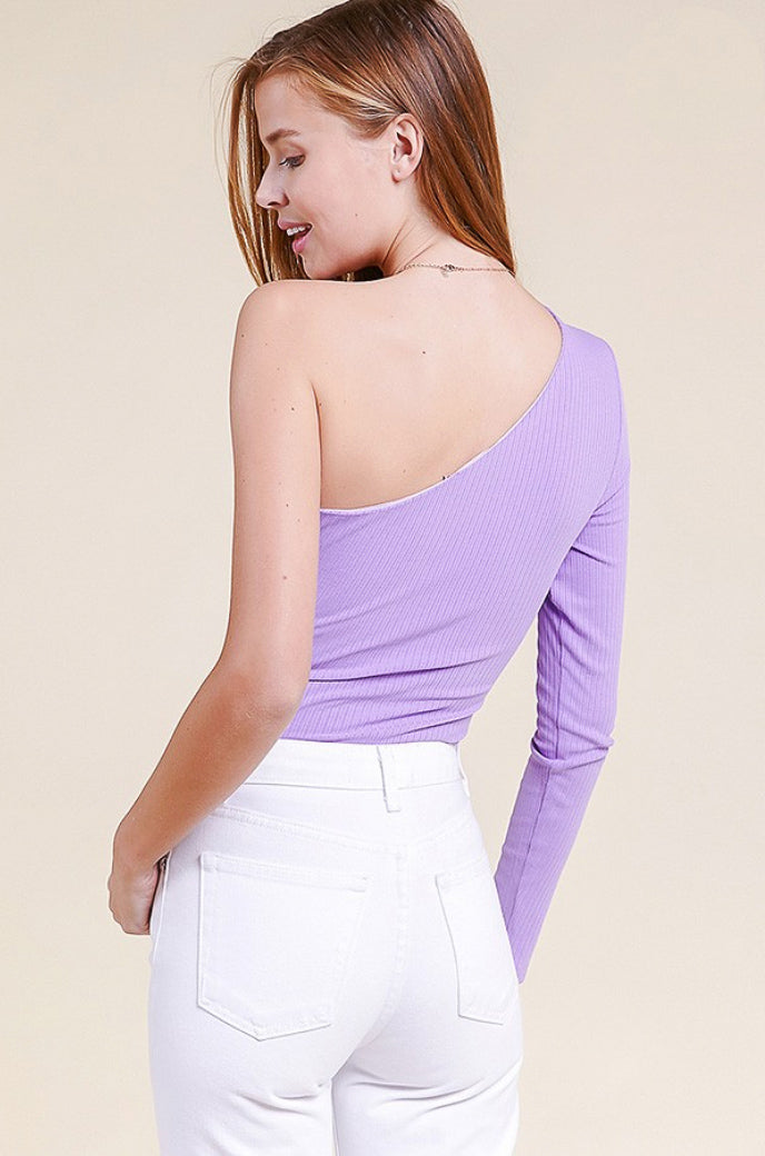 LAVENDER ONE SHOULDER BODYSUIT