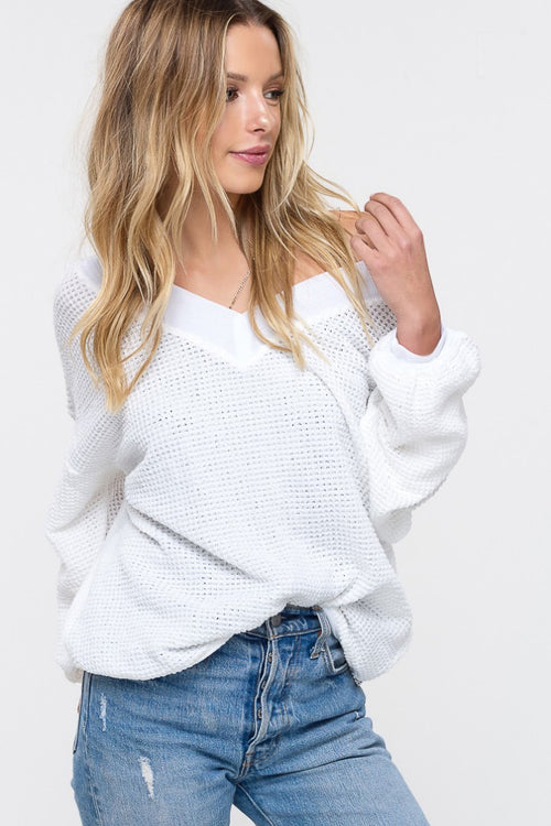 WAFFLED KNITTED TOP IN IVORY