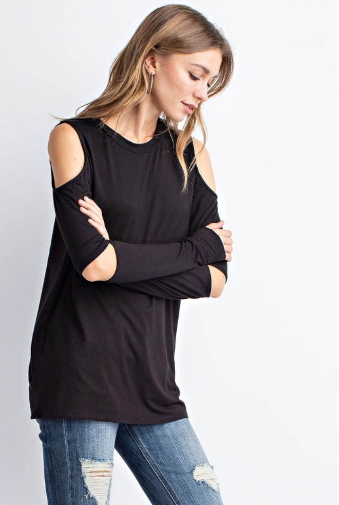 MODAL COLD SHOULDER LONG SLEEVE TOP
