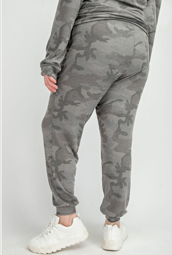 PLUS SIZE GREY CAMOUFLAGE JOGGERS