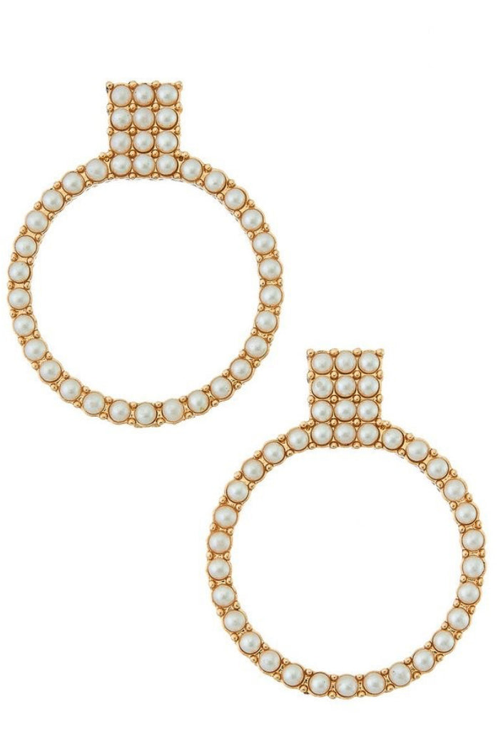 PEARL ENCRUSTED HOOP AND POST EARRINGS