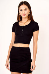 CROPPED HENLEY IN BLACK