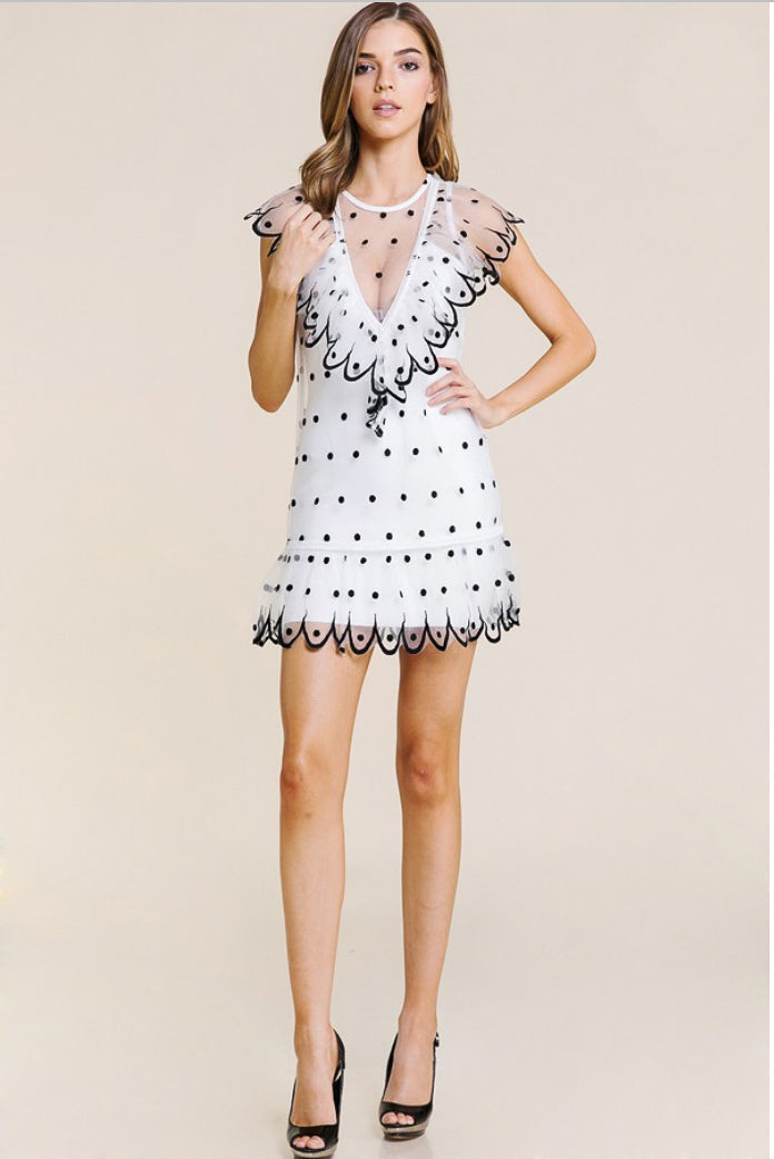 MESH POLKA DOT MINI DRESS / FINAL CLEARANCE