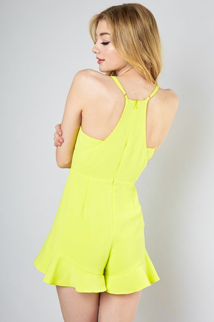 LIME V-NECK RUFFLE ROMPER