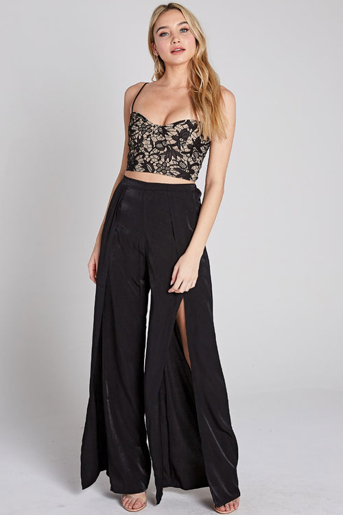LACE CROP TANK IN BLACK
