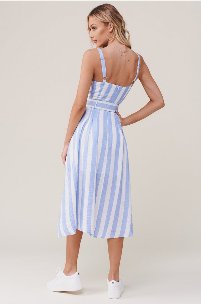 STRIPED TEXTURED MIDI DRESS WITH BELT