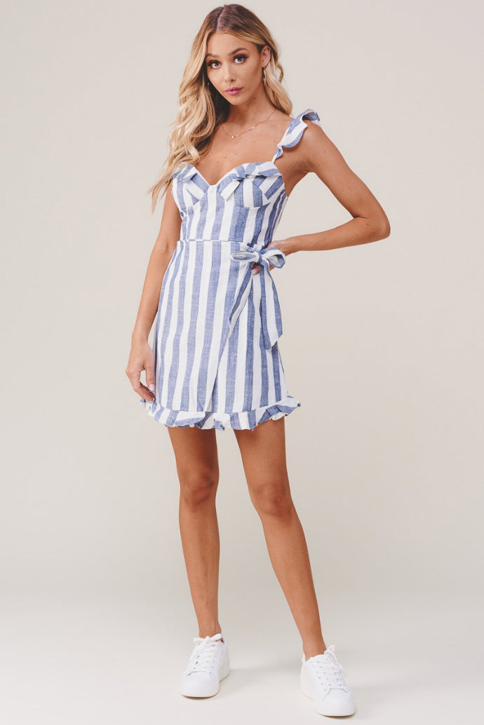 STRIPED LINEN DRESS WITH RUFFLE TRIM IN BLUE