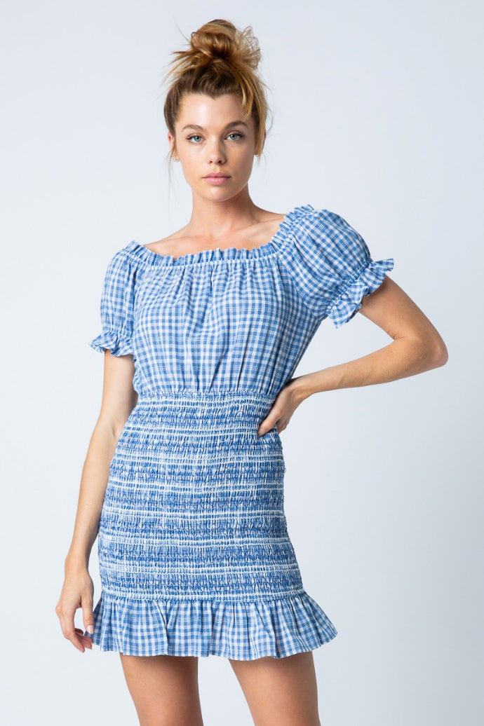 BLUE IRIS CHECK SMOCKED DRESS
