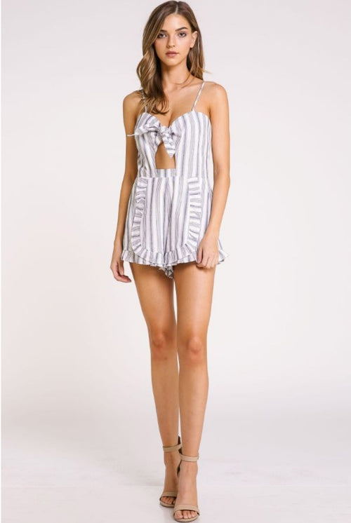 NAVY STRIPE FRONT CUT ROMPER