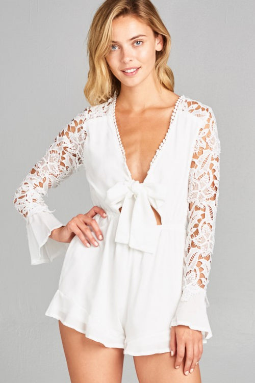 LACE CROCHET ROMPER IN WHITE