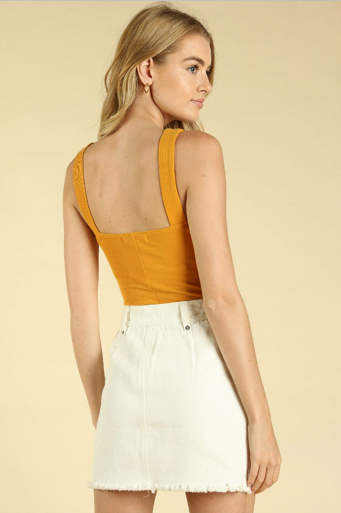 REVEL SQUARE NECK BODYSUIT IN MUSTARD