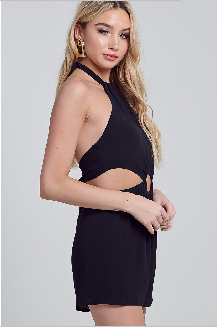 O RING DETAIL HALTER NECK ROMPER