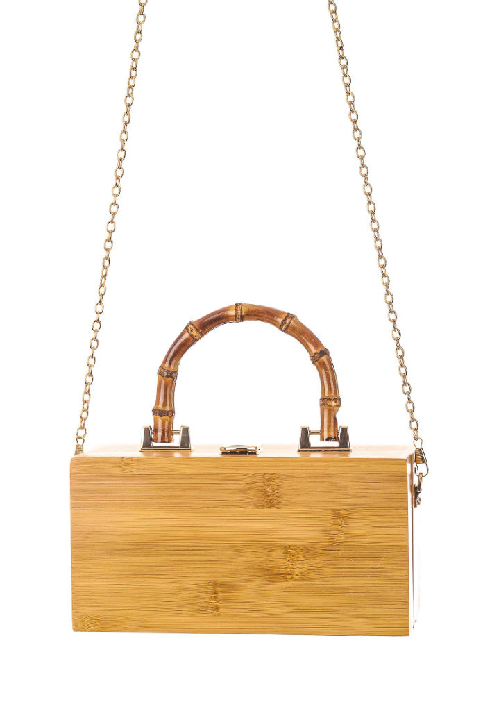 WOOD BOX BAG WITH BAMBOO HANDLE