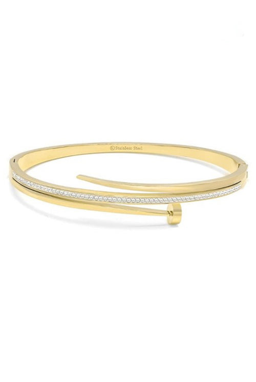 GOLD NAIL BRACELET WITH DIAMOND DETAIL