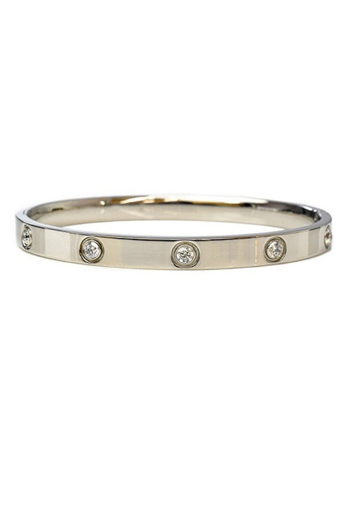 SILVER STAINLESS STEEL BANGLE WITH DIAMONDS