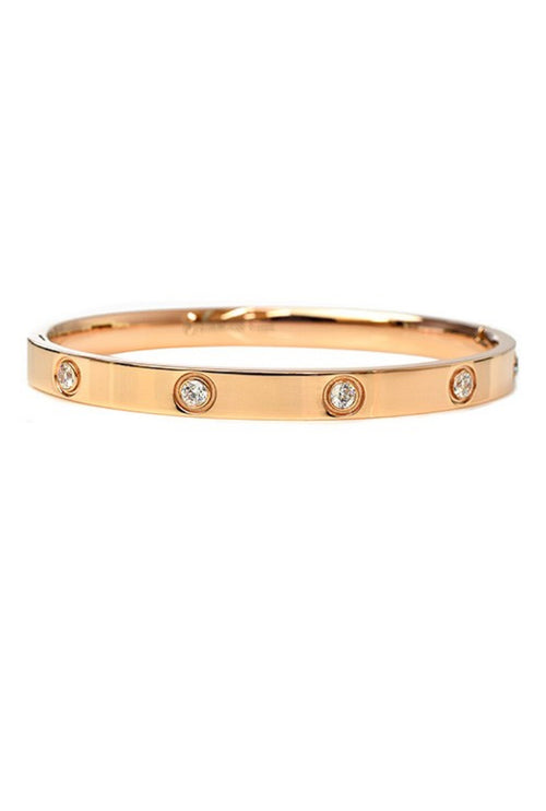 ROSE GOLD STAINLESS STEEL BANGLE WITH DIAMONDS