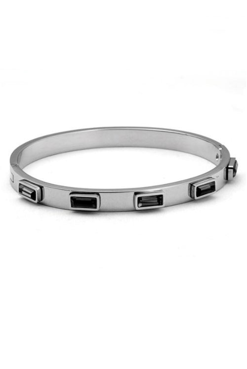 SILVER STAINLESS STEEL BANGLE WITH BLACK GEM ACCENTS
