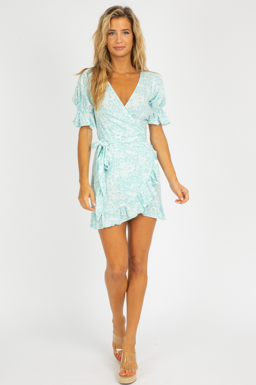 PASTEL SEA FLORAL WRAP DRESS