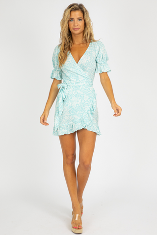 DUSTY SAGE TWISTED MINI DRESS