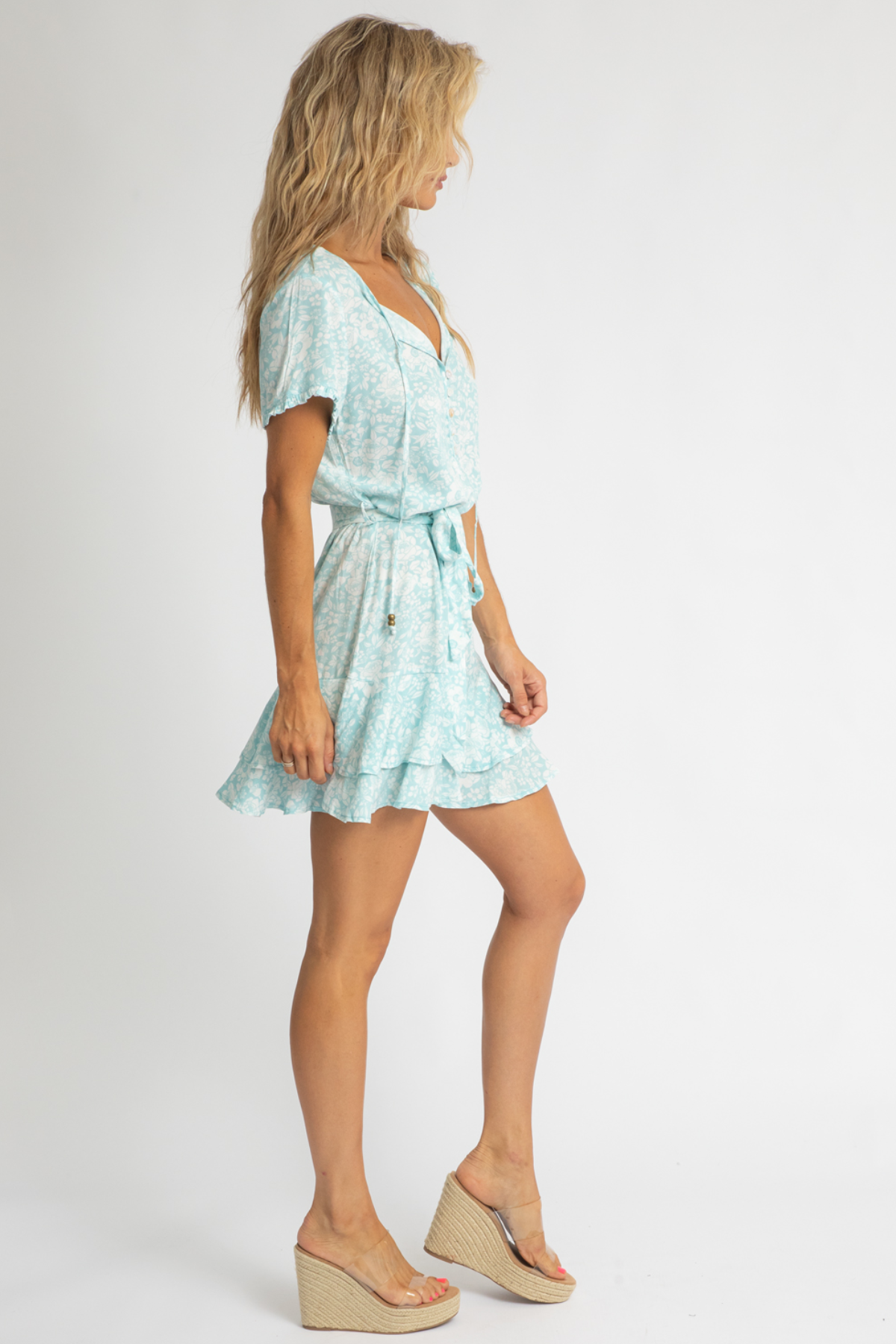 SEAFOAM FLORAL MINI DRESS