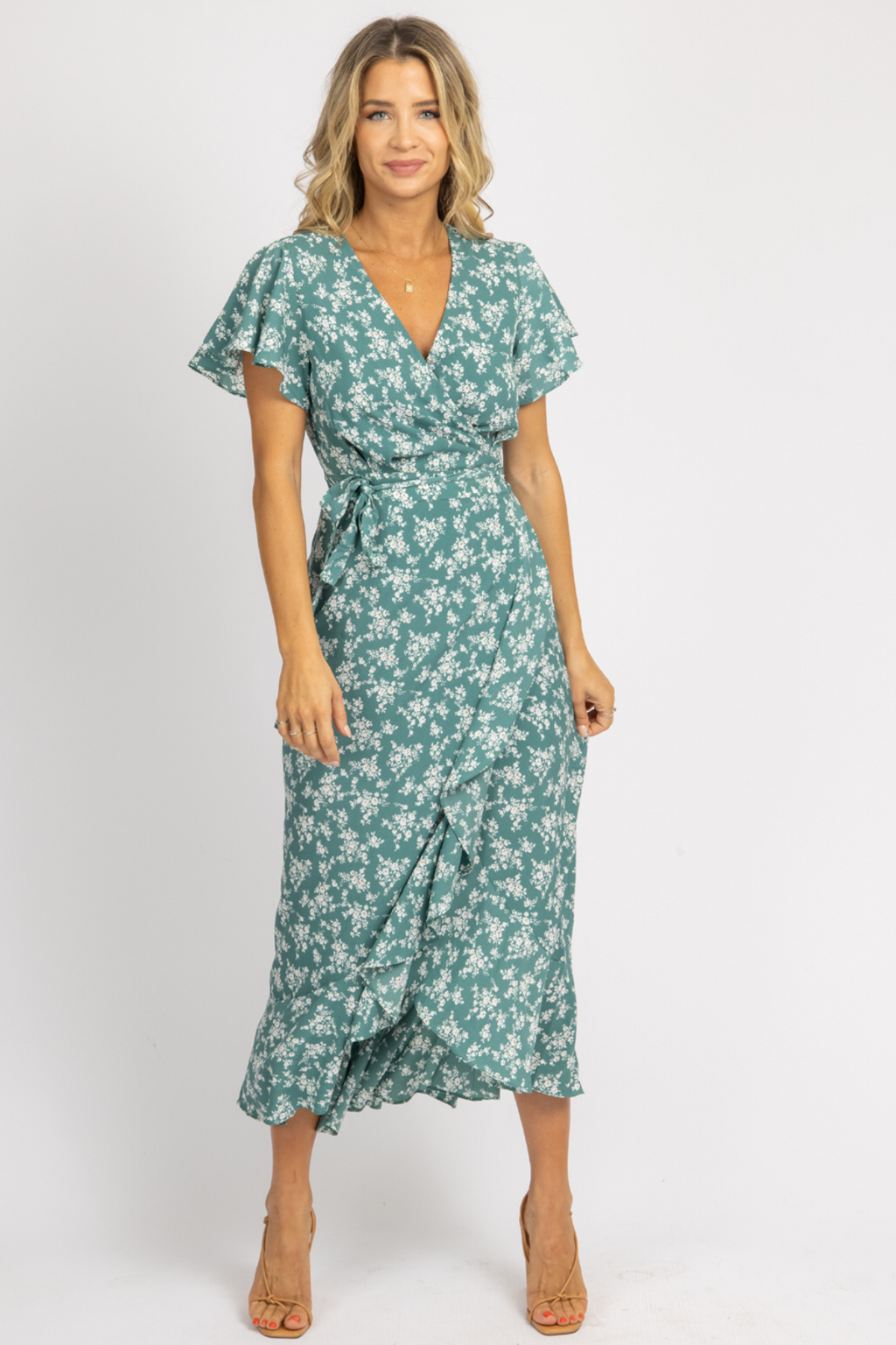 SEA GREEN FLORAL WRAP MAXI DRESS *RESTOCK COMING SOON*