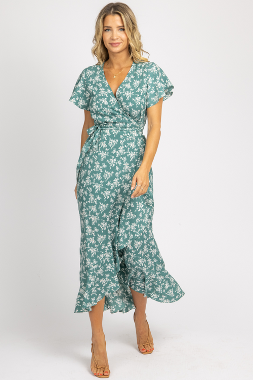 SEA GREEN FLORAL WRAP MAXI DRESS