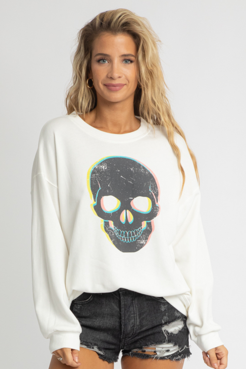 WHITE SKULL GRAPHIC SWEATSHIRT