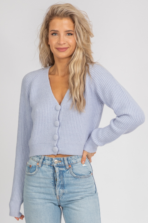 SKY BUTTON FRONT CARDIGAN