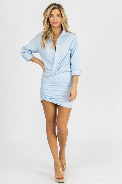 SKY BLUE COLLARED TWIST MINI DRESS