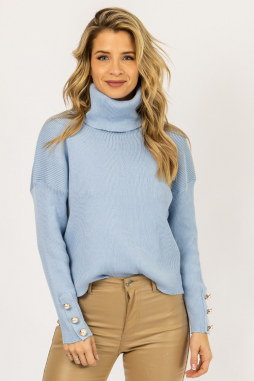 SKY BLUE PEARL SLEEVE TURTLENECK KNIT