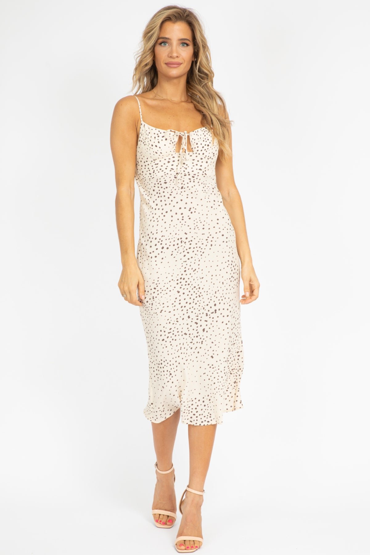 CREAM DOTTED MIDI DRESS