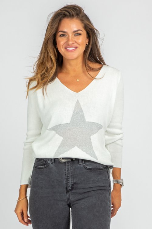 IVORY STAR ELBOW SHIMMER KNIT