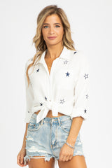 EMBROIDERED STAR BUTTON DOWN
