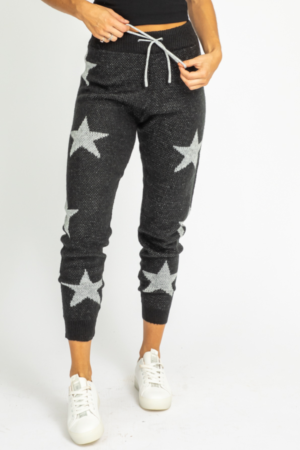 BLACK + WHITE STAR KNIT JOGGERS