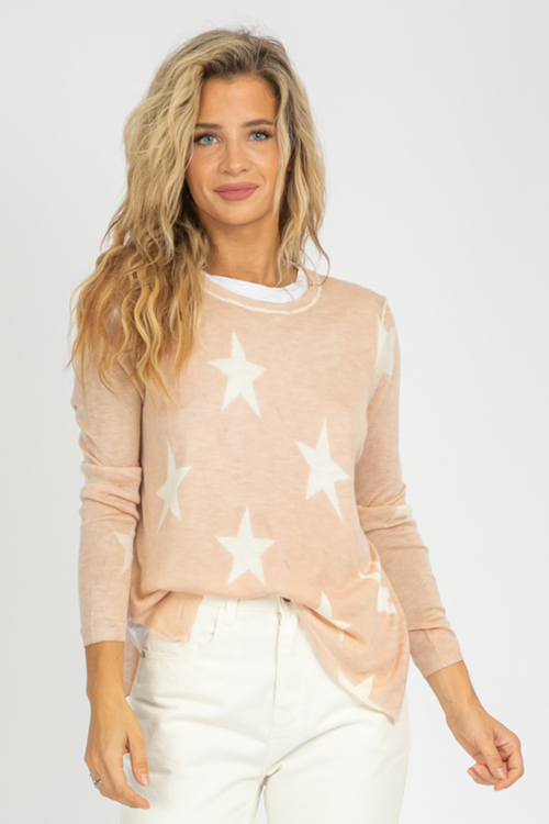 LAYERED NATURAL + WHITE STAR KNIT
