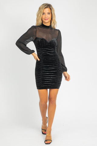 BLACK MOCK NECK KNITTED DRESS