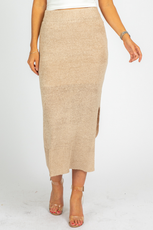 TAUPE SLIT KNIT MIDI SKIRT