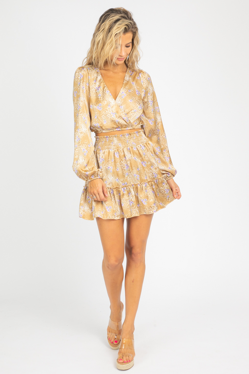 TAN FLORAL SURPLICE + SMOCK SET