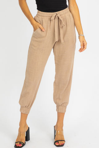 TIE BELT WIDE LEG PANTS