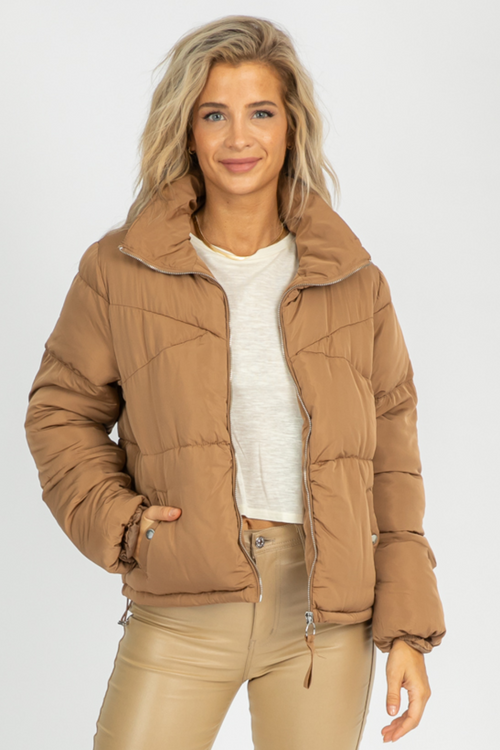 TAUPE PUFFER ZIP JACKET