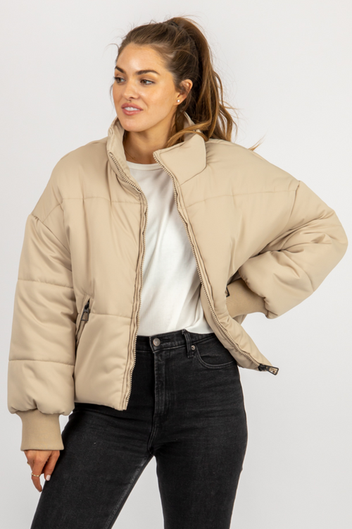 TAN QUILTED PUFFER JACKET