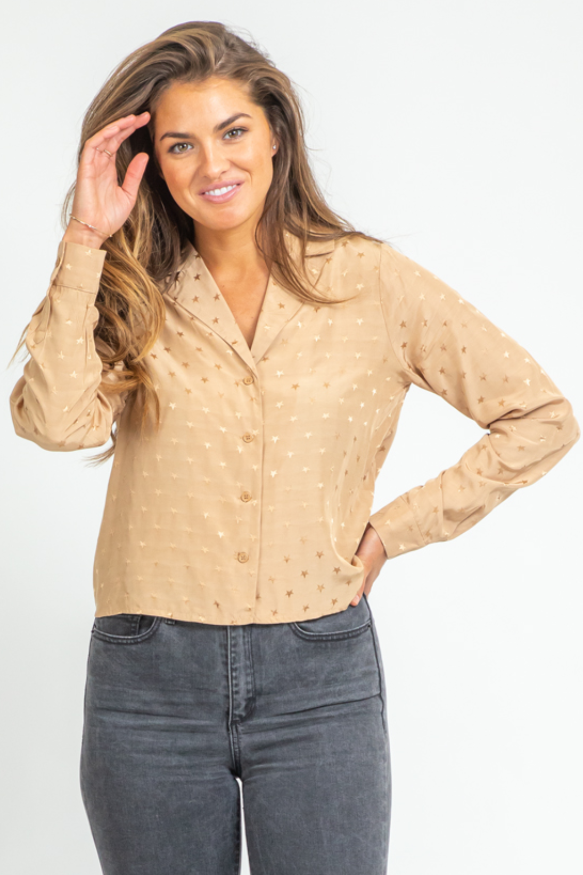 TAN SATIN STAR BLOUSE
